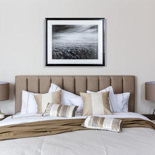 Свежая идея для дизайна: хозяйская спальня в современном стиле с коричневым полом - отличное фото интерьера