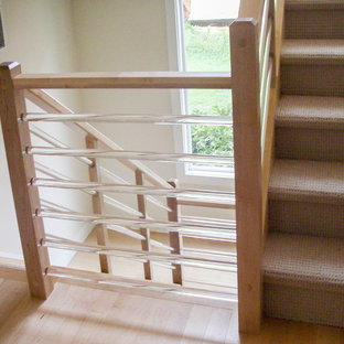 Staircase - mid-sized modern wooden u-shaped glass railing staircase idea in DC Metro