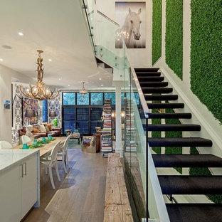 トロントのカーペット敷きのエクレクティックスタイルのおしゃれなオープン階段の写真