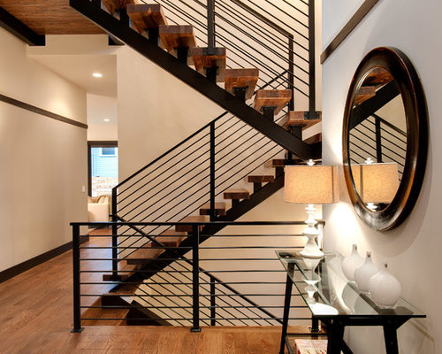 Inspiration For A Contemporary Wooden U Shaped Open And Metal Railing  Staircase Remodel In Seattle