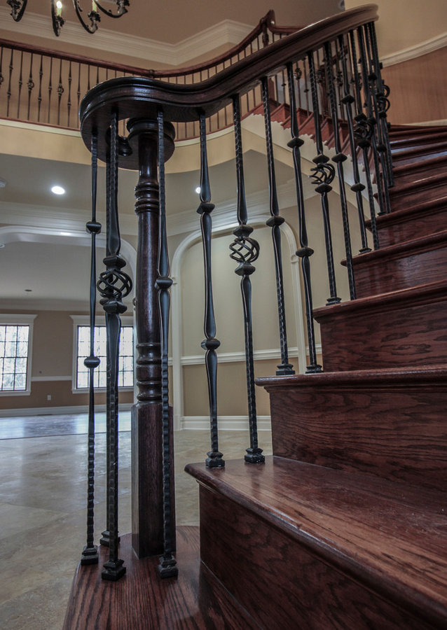 Curved Custom Wrought Iron Staircase in Luxurious Home, Fairfax VA 22032