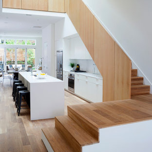 Staircase   Contemporary Wooden L Shaped Staircase Idea In DC Metro