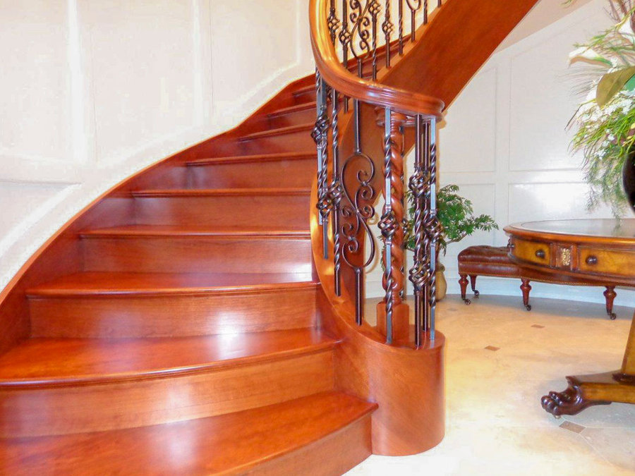 Sophisticaded Staircase w/American Cherry + Wrought Iron Balustrade, 20854