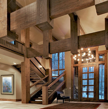 Rustic Staircase by Jaffa Group Design Build