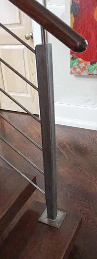 Industrial Stairway with Steel Rod Rails
