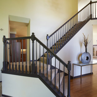 Inspiration for a transitional staircase remodel in Minneapolis