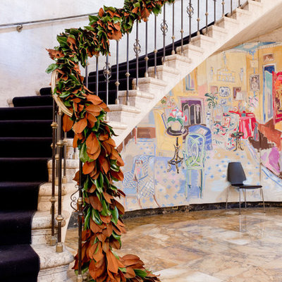 Staircase - eclectic curved staircase idea in New York