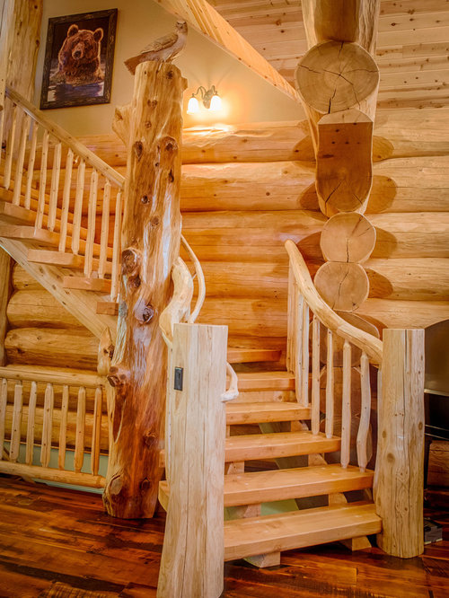 Great Mountain Style Wooden Open Staircase Photo In Denver