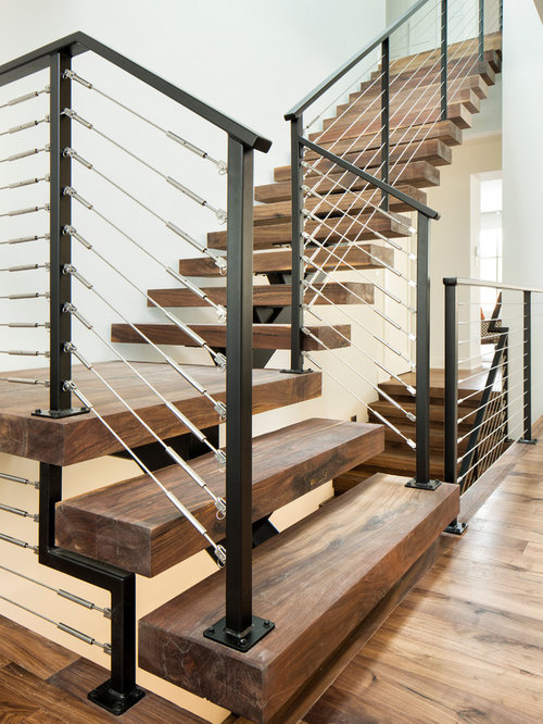 Open Log Stairs: L-Shaped Staircase Design Ideas, Remodels & Photos