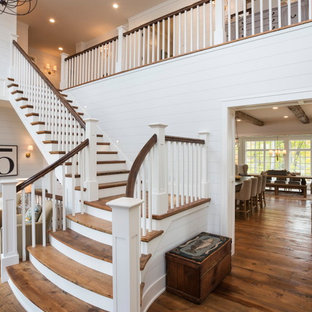 Staircase - eclectic wooden l-shaped wood railing staircase idea