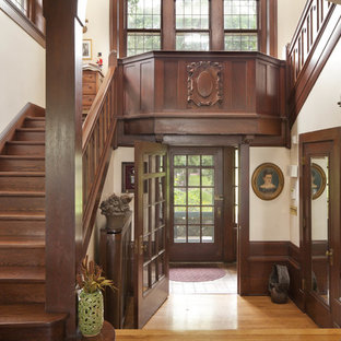 Inspiration For A Timeless Wooden Wood Railing Staircase Remodel In Minneapolis With Risers