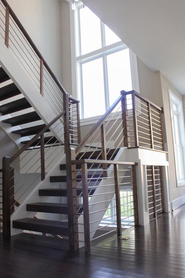 Stainless Steel & Dark Wooden Treads in Fabulous New Home, Vienna, VA 22180