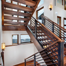 Contemporary Staircase by Pinnacle Mountain Homes