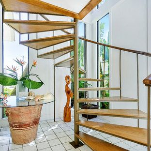 Inspiration for a world-inspired spiral staircase in Miami.