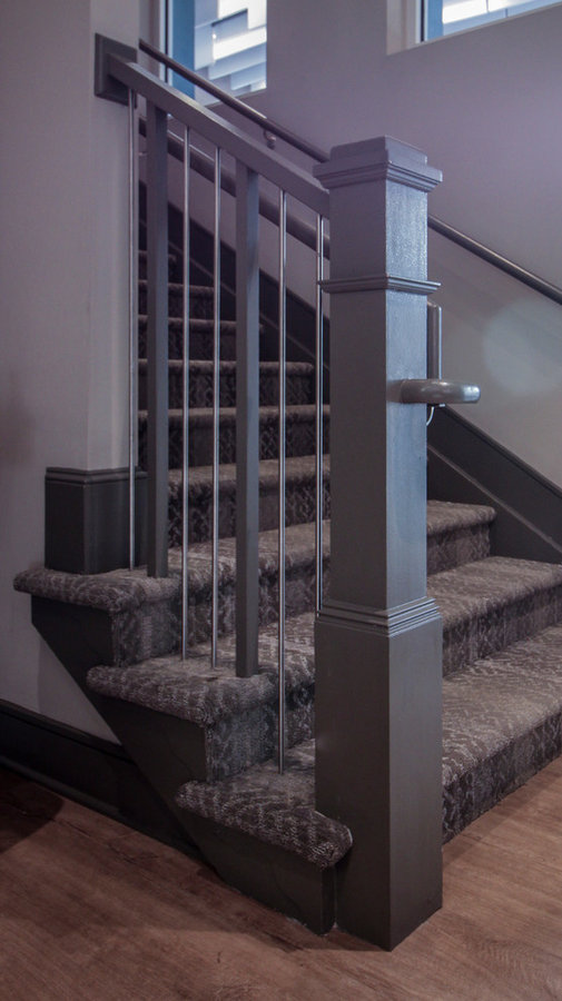 Industrial Style Staircase in Renovated Community Clubhouse, Arlington VA 22206