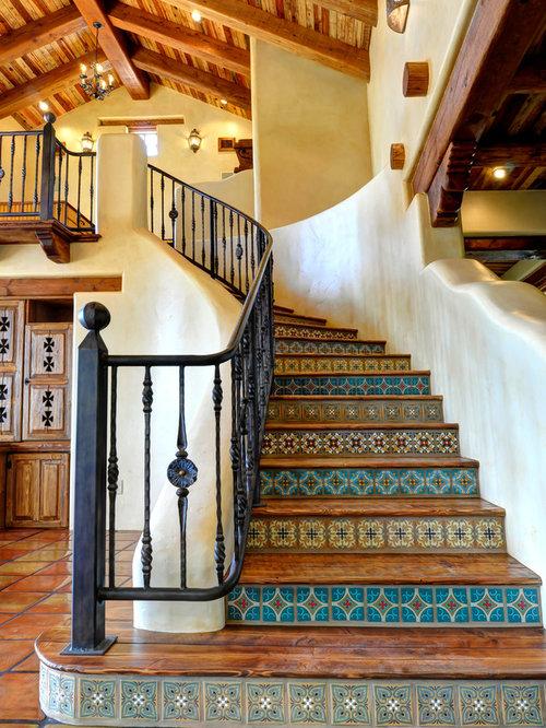 Southwestern Curved Staircase Design Ideas Remodels Photos