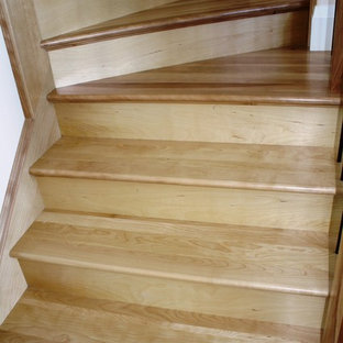 Staircase - mid-sized traditional wooden curved mixed material railing staircase idea in Other with wooden risers