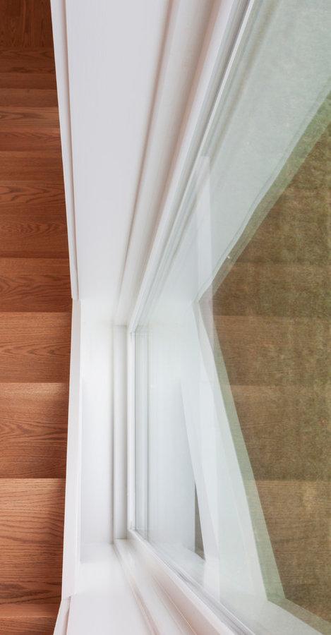 Contemporary Round Stainless Steel Balustrade & Oak Treads, Arlington VA 22207
