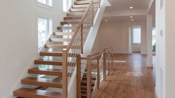 48_Contemporary Round Stainless Steel Balustrade & Oak Treads, Arlington VA 2220