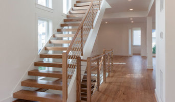 Contemporary Round Stainless Steel Balustrade & Oak Treads, Arlington VA 22207