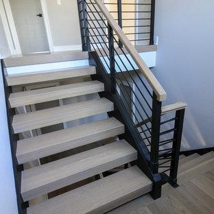 ワシントンD.C.の大きい木のモダンスタイルのおしゃれなフローティング階段 (金属の手すり) の写真