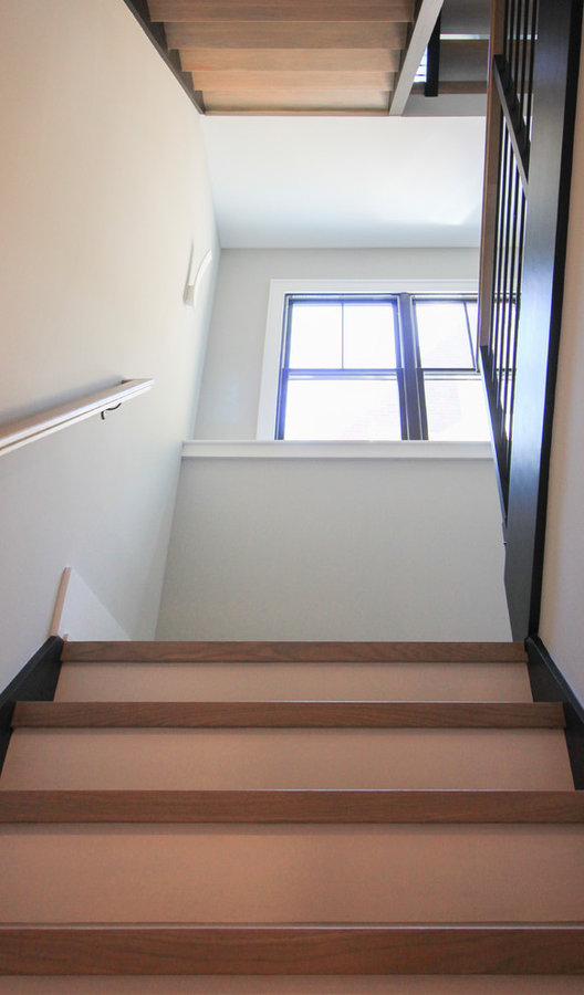 Minimalist & Floating Open-Riser White Oak Stairway, Arlington, VA 22207