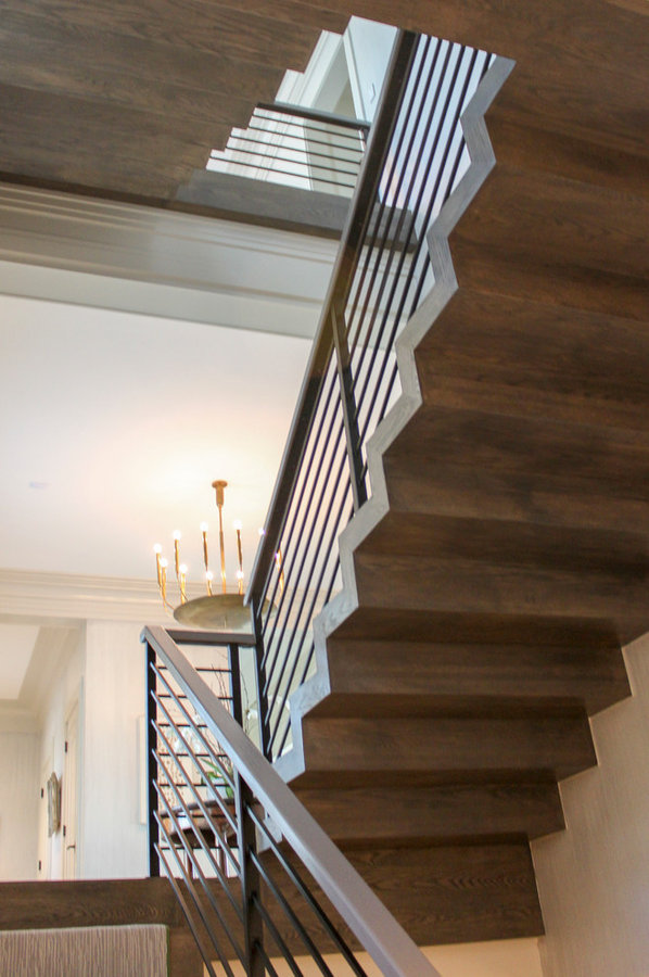 Dynamic and Open Wood and Metal Zig-Zag Staircase, Alexandria VA 22302