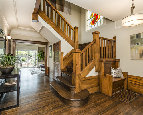 Mid-sized mountain style wooden u-shaped wood railing staircase photo in  San Francisco