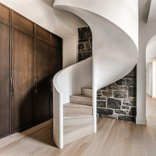 モントリオールの中サイズの木のコンテンポラリースタイルのおしゃれならせん階段 (木の蹴込み板) の写真