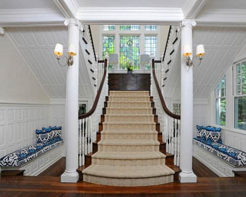 Traditional Carpeted Wood Railing Staircase Idea In New York