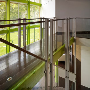 Staircase - large contemporary wooden straight metal railing staircase idea in Chicago