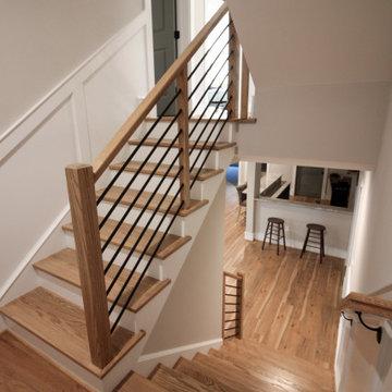 83_Blonde Wood Stairway with Sleek Horizontal-Metal Balustrade, Springfield VA 2