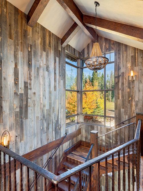 imagen de escalera rstica con de madera y escalones de madera
