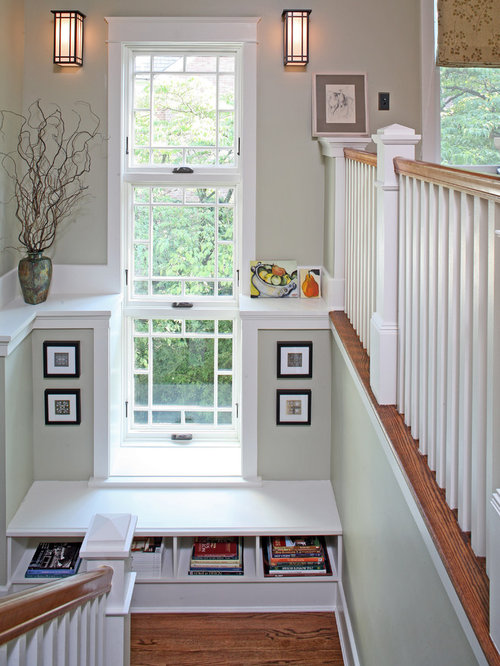 Basement Stair Landing Decorating: Large Stair Landing Window