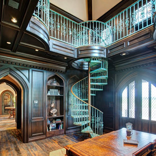 Inspiration for a medium sized classic spiral staircase in Austin with open risers.
