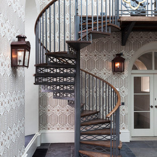 Staircase - traditional wooden spiral open staircase idea in Edinburgh