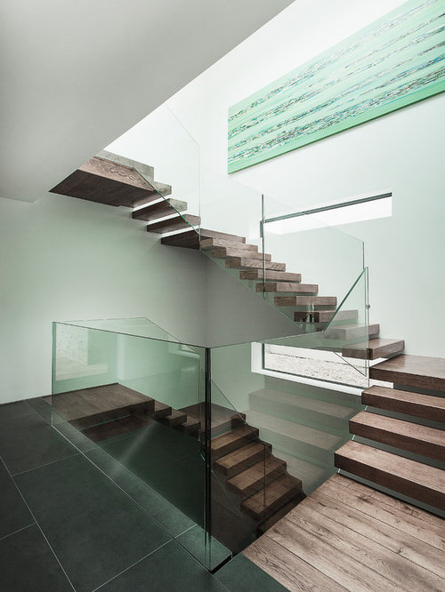 Captivating Modern Floating Glass Railing Staircase Idea In Hampshire