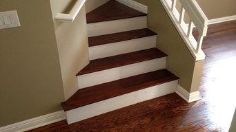 Acacia Woodon stairs in Rancho Santa Margarita with white risers.