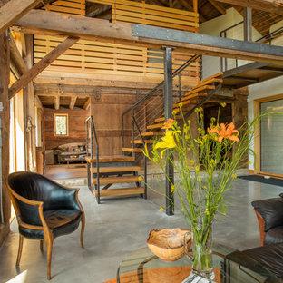 Example of a farmhouse staircase design in Burlington