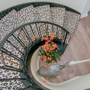 Diseño de escalera de caracol, contemporánea, extra grande, con escalones enmoquetados y contrahuellas enmoquetadas