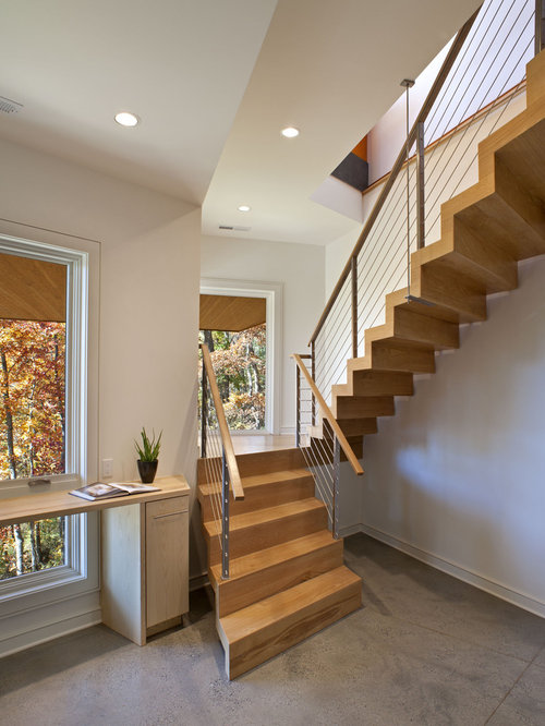 Contemporary Wooden U Shaped Staircase Idea In Other