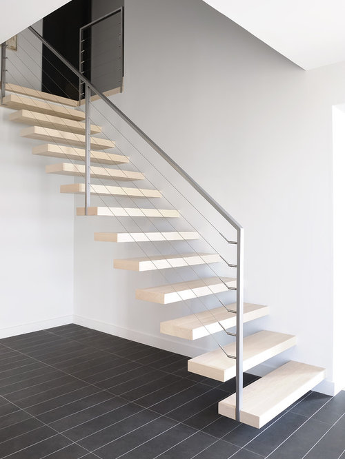 Contemporary floating staircase design ideas renovations - Appartement duplex winder gibson architecte ...