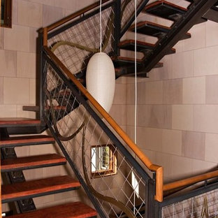 Staircase - mid-sized contemporary painted spiral open staircase idea in Denver