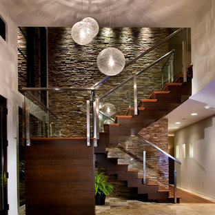 Inspiration For A Contemporary Wooden U Shaped Staircase Remodel In Orlando