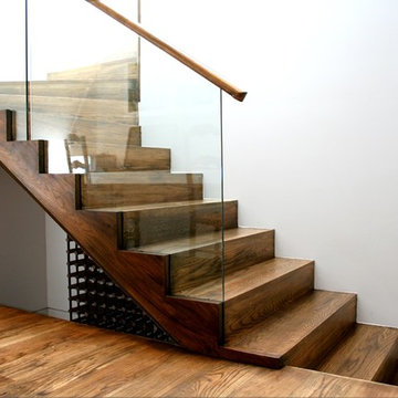American Oak stair with cut strings and insert glass balustrade