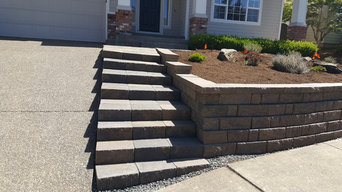 """Anand, Retaining Wall, Steps in Portland, Material WGS Anchor Highland """"Walnut"""""""