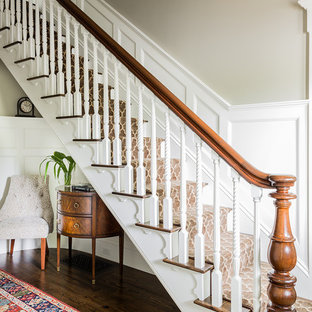 Inspiration For A Timeless Wooden Straight Wood Railing Staircase Remodel In Boston With Painted Risers