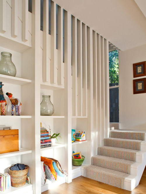 Photo Of A Contemporary Painted Wood U Shaped Staircase In Sydney.