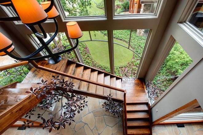 Rustic Staircase by Moon Bros Inc