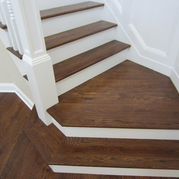 """Aquebogue new construction - 3 1/4"""" Red Oak installed / stained Special Walnut"""
